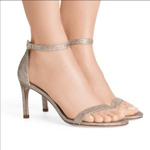NWT Stuart Weitzman Nunaked Platinum Heels Size 10